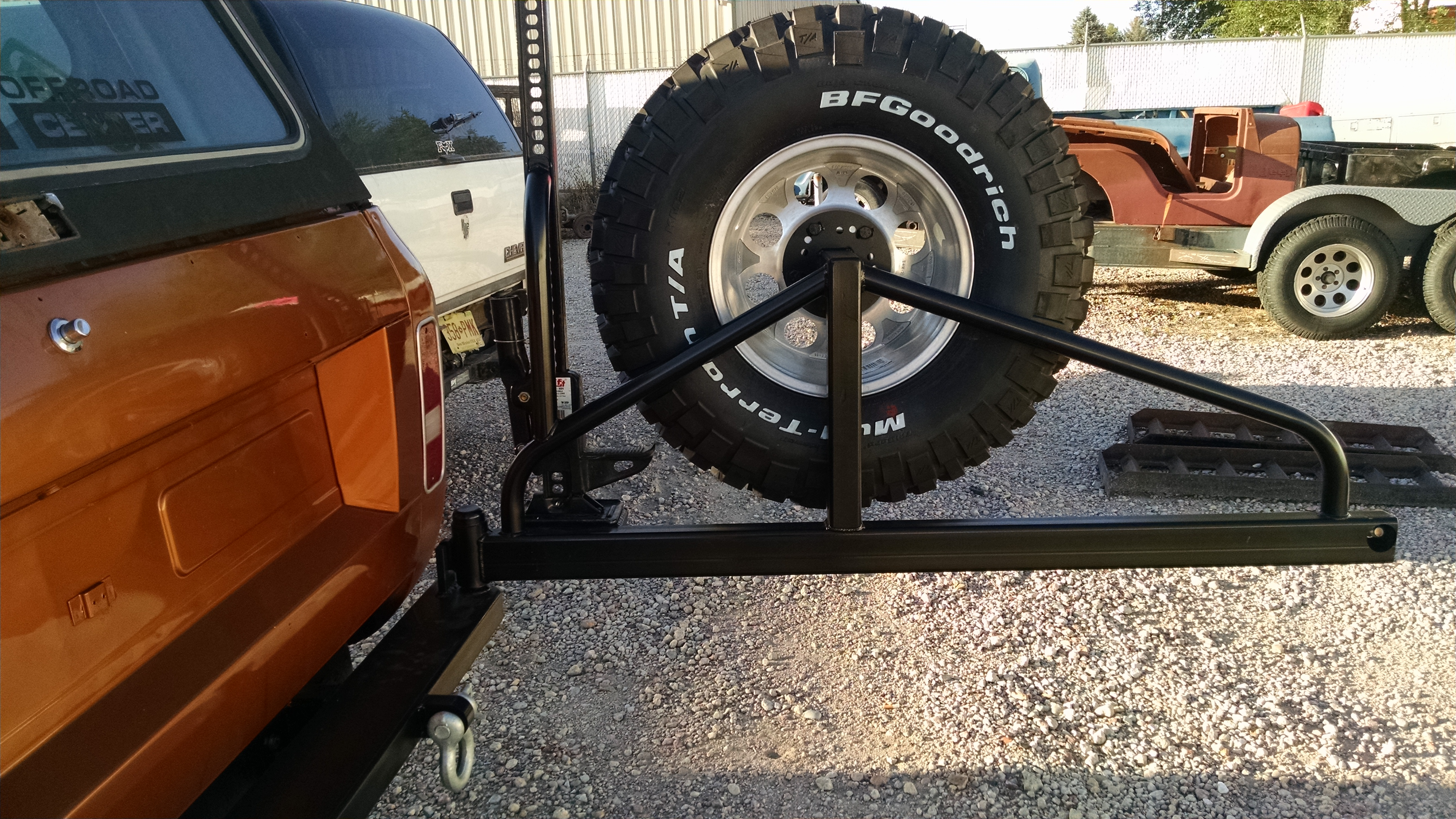 Scout Ii Rear Bumper With Tire Carrier D And C Extreme 1955 Ford F100 Spare